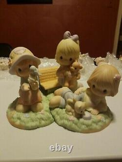 3 Precious Moments Limited Figurines Make Time for Loving, Caring and Sharing