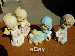 4 Piece Large Precious Moments Nativity Set Joseph Angle Girl Boy Mary & Jesus