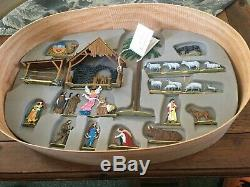 BERLINER ZINNFIGUREN Pewter Nativity SET IN WOOD BOX -HAND PAINTED