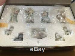 Enesco Precious Moments Complete Miniature Pewter Nativity Set NRFB + Angel