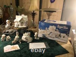 Enesco Precious Moments Sugar Town Post Office Rare set Sam Butcher 1998 & Box