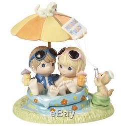 Every Day With You Is Paradise Precious Moments Figurine Beach Cat Dog Tiki NWOB