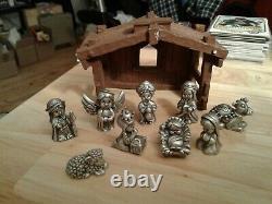 Hudson Pewter Nativity Jesus Sheep Hallmark Precious Moment 10 PC. Figurine