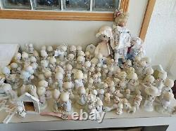 Lot of 80+ Pcs vintage Precious Moments Figurines 3 houses, 16 plates and blanket
