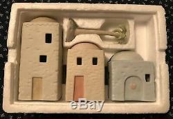 PRECIOUS MOMENTS Enesco 4 Piece NATIVITY SET 3 BUILDINGS 1 Palm Tree E-2387