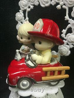 PRECIOUS MOMENTS Fire Engine FIREFIGHTER CAKE TOPPER FIREMAN heart Hero funny