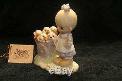 PRECIOUS MOMENTS GOD LOVETH A CHEERFUL GIVER orig 21 girl/puppies no mark! NICE