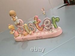 PRECIOUS MOMENTS VERY RARE! ALPHABET LETTERS SISTER Betty Mary Enesco BANNER