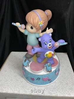 Precious Moments 163102 Purple CARE BEARS Harmony Bear & Girl MUSIC BOX New