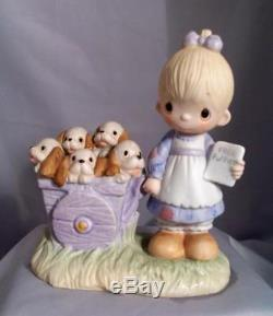 Precious Moments 1977 Girl WithFree Puppies God Loveth A Cheerful Giver No Mark