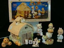 Precious Moments-7 Piece Fall Festival/Harvest Jubilee Set-Lighted Barn/Pumpkins