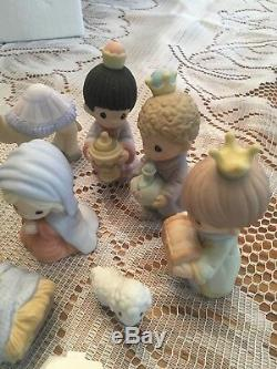 Precious Moments Come Let Us Adore Him 810013 Miniature Nativity Set Rare