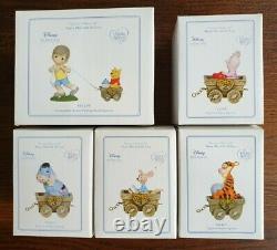Precious Moments Disney Christopher Robin, Pooh, Piglet, Eeyore, Roo in Wagon
