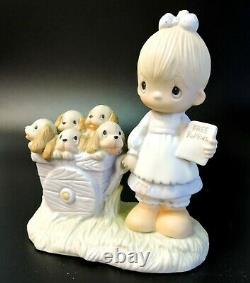 Precious Moments Girl with Puppies God Loveth Cheerful Giver Original Box E-1378