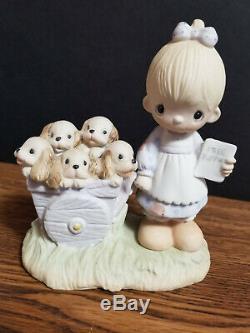 Precious Moments God Loveth A Cheerful Giver 1977 Free Puppies B&W Box RARE
