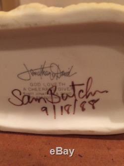 Precious Moments God Loveth A Cheerful Giver signed Sam Butcher (No#, No Mark)