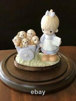 Precious Moments God Loveth a Cheerful Giver Free Puppies Sign 1977 Rare Retired