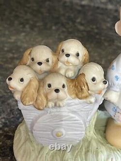 Precious Moments God Loveth a Cheerful Giver- Free Puppies Sign Retired 1977