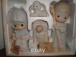 Precious Moments Nativity 9 Four Piece O Come Let Us Adore Him Rare 111333