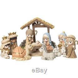 Precious Moments O Come Let Us Adore Him Nativity Figurine with Creche Set of