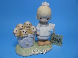 Precious Moments Original 21 God Loveth A Cheerful Giver 1977 Free Puppies Tag