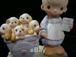 Precious Moments VERY RARE Girl With Puppies-$750V-Rare One Hole Variety