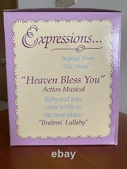 RARE VTG 1993 Enesco Musical Precious Moments Heaven Bless You Crib New In Box