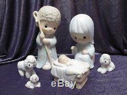 Rare Large 9 Precious Moments Nativity Six Piece Set O Come Let Us Adore Him