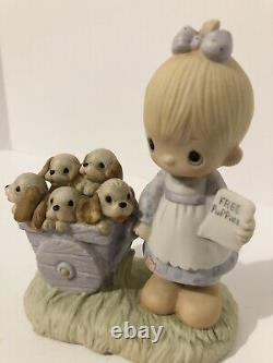 Rare Precious Moments God Loveth A Cheerful Giver 1977, Free Puppies