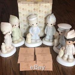Rare Six (6) Figurine Precious Moments Bless Those Who Serve Their Country Set