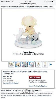 SET The Hamilton Collection Precious Moments Paw Prints On My Heart Cat Lover