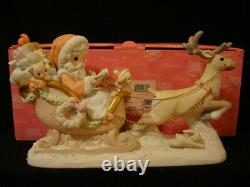 T Precious Moments-HUGE Santa/Sleigh/Reindeer-Limited Edition-Hard To Find