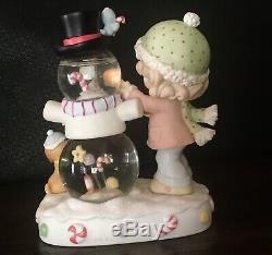 VERY RARE Precious Moments Girl Decorating Snowman Water Ball Globe. 892151 2008