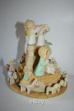 VTG 1998 Enesco Precious Moments Ceramic Turning Nativity Action Musical 351989