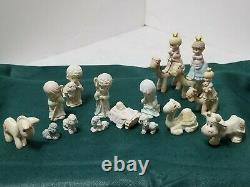 Vintage Precious Moments Pewter Nativity Sets Enesco 1989 & 1990 15 Pieces Total