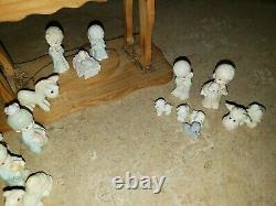 Vtg Enesco Precious Moments Miniature Christmas Nativity Scene Set Boxed 18 pcs