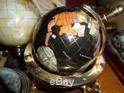 World Globes Semi Precious Stones Inlay Lot Of 4 Plus 2 Other Globes Xlnt